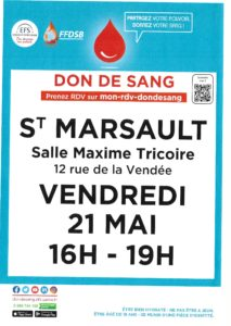 Don de sang le vendredi 21 Mai